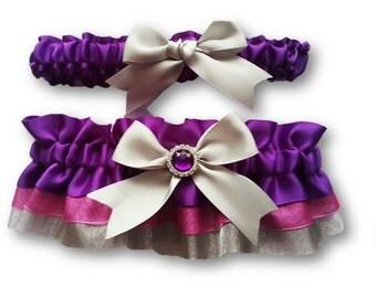 Purple and silver Wedding Garter SET , beautiful purple satin and pink and silver organza, purple and pink