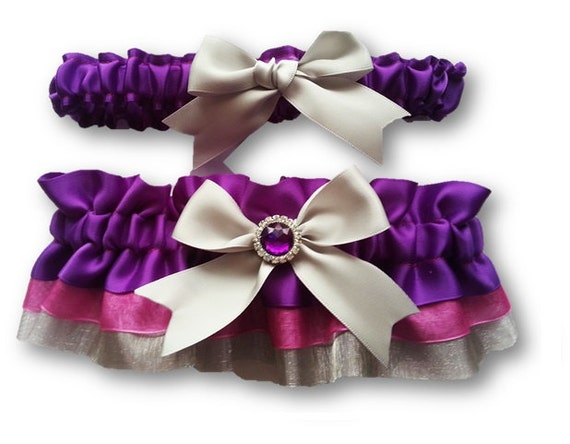 Purple And Silver Wedding Garter SET Beautiful Purple Satin