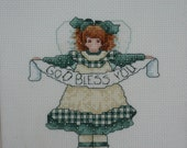 CLEARANCE - God Bless You Angel Framed Counted Cross Stitch Picture
