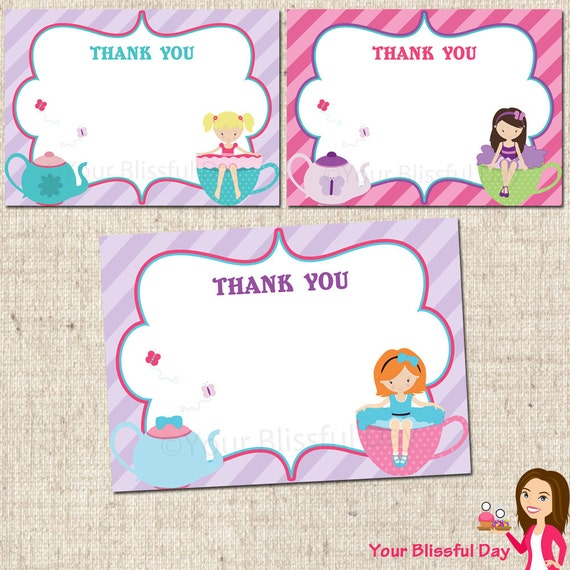 PRINTABLE Tea Party Girl Thank You Cards by yourblissfulday
