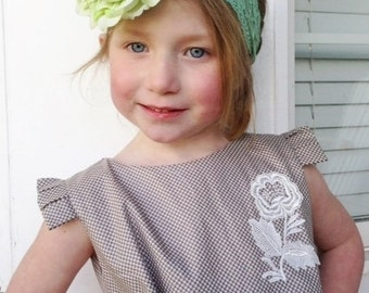 Vintage inspired green flower headband,green peony headband, large flower headband, green baby headband,flower girl headband