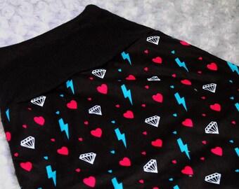 Infant baby toddler Punk Rocker skirt. Hearts, lightning bolts & diamonds for pirate princess. Custom - 12m 18m 2 3 years. Pink Black Teal