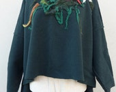 Patchwork  Upcykled Poncho-Recycled Wool Poncho / Fall Green Sweater / Colorful Felt / Large Size