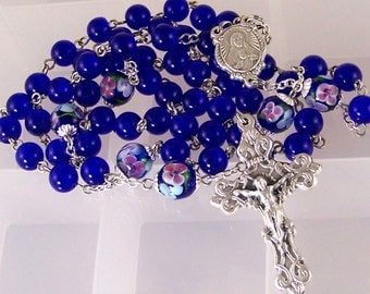 Royal blue handmade Catholic rosary with floral lampwork beads in silver
