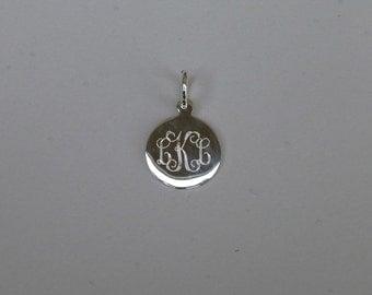 Sterling Silver Monogram Engraved CHARM (15mm)