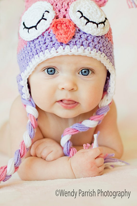 Owl hat crochet pink owl hat sleepy owl hat newborn owl
