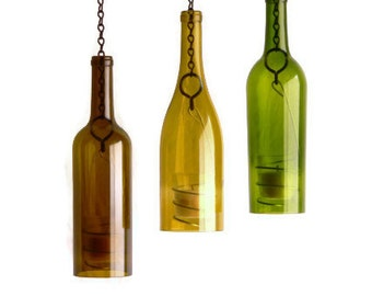Wine Bottle Candle Holder Hanging Hurricane Lanterns Romantic Indoor Outdoor Lighting Set of 3