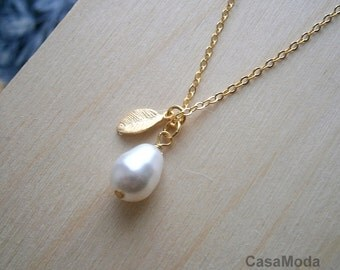 Bridal Pearl Necklace In Gold Chain With White Swarovski Crystal Teardrop Pearl And Gold Leaf Charm