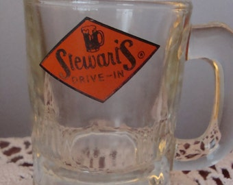 Minature Stewart's Rootbeer Mug - Child Size Stewart's Drive In glass Mug with Orange and Black logo