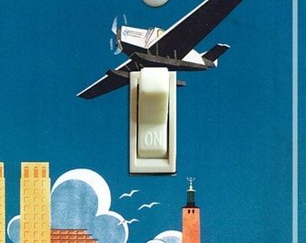 STOCKHOLM Vintage Travel Poster Switch Plate (single or double)  ***FREE SHIPPING***