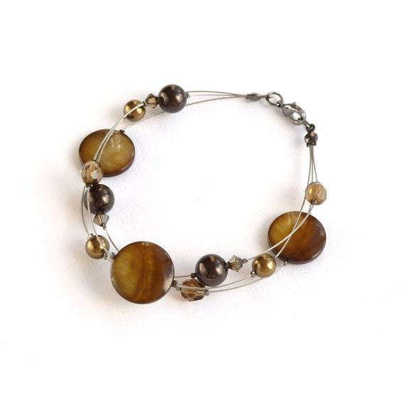 Brown Floating Pearl Bracelet - Coffee Multi Strand Bracelet - Mocha Bridesmaid Jewelry - Autumn Wedding - Deep Brown Bridesmaids Gifts