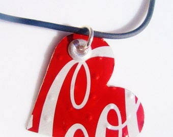 Recycled Soda Can Jewelry Coca Cola Necklace Heart Teen Girl Jewelry Women Jewelry Teen Girl Gift Women Gift