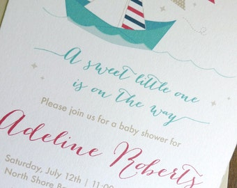 Nautical Baby Shower Invitations, Paper Sailboat Nautical Shower Invitation, Boat Baby Shower (Set of 10)