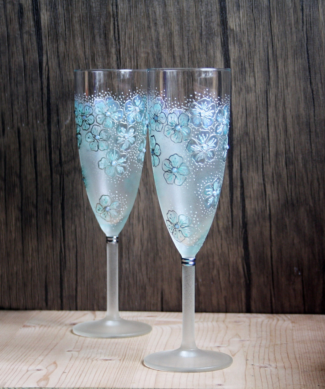 Mint Floral Design Hand Painted Wedding Champagne Flutes Set