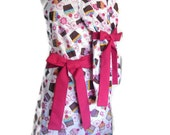 Mother Daughter Cupcake aprons,  Mommy and Me Matching Apron Set, Pink ties, aprons for women children toddlers, mother's day kitchen aprons