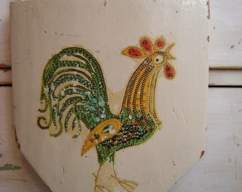 Kitchen Knife Block - Home Made Vintage - Colorful Rooster - Shabby - Farmhouse - Cottage