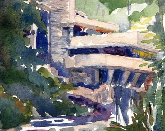 architecture watercolor- Fallingwater- Frank Lloyd Wright- art print