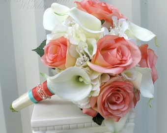 Wedding bouquet - Coral cream real touch calla lily silk rose bridal bouquet