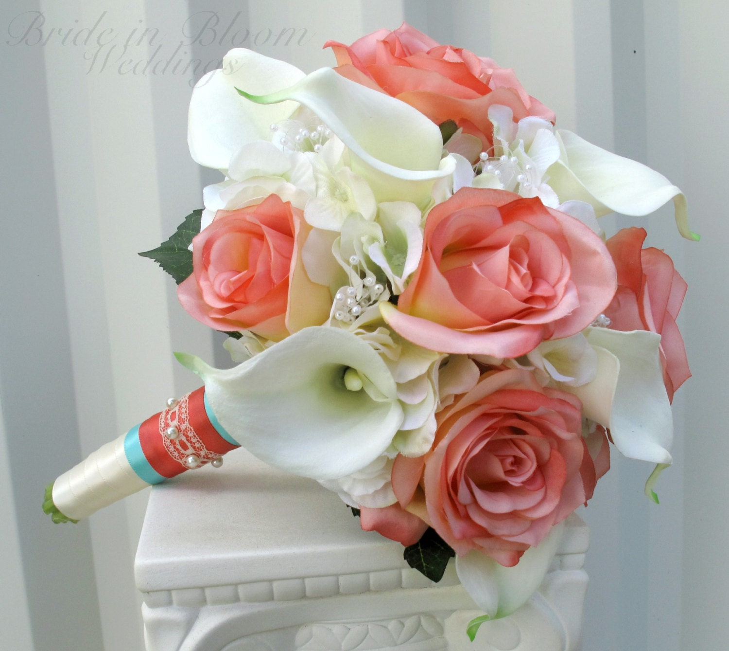 Cream calla lily bridal bouquet : Wedding bouquet coral cream real touch calla lily silk rose