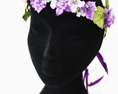 Purple and Lilac Bridal Woodland Floral Vine Crown With Purple Pearls Headband Wedding Circlet