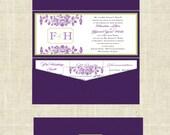 Romantic Garden - Tea Length Pocketfold Invitation