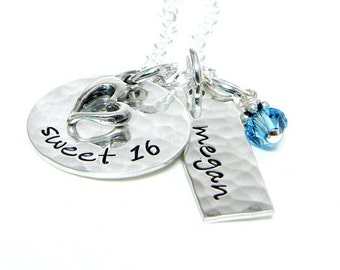 Sweet 16 - Personalized hand stamped sterling silver necklace
