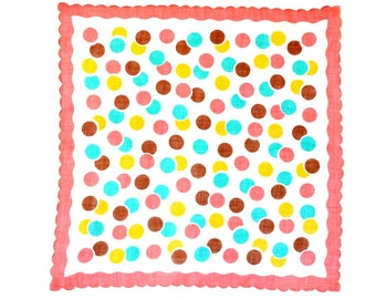 RETRO HANKIE, Mid-Century, Pink  Fushia Aqua Grey Overlapping Large Dots on White, Grey Scalloped Border, Excellent Condition