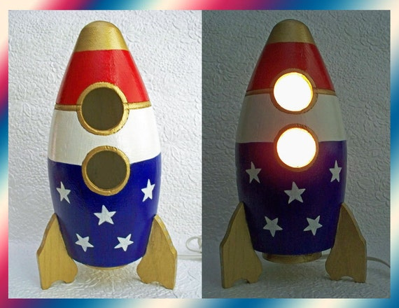 Boys Nightlight Table Lamp Rocket Ship Red White Blue