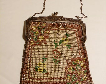 1920s Whiting and Davis Enamel Metal Mesh Flapper Bag with Floral Motif