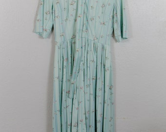 Vintage 80's 90's Baby Blue Floral Dress w/ Belt