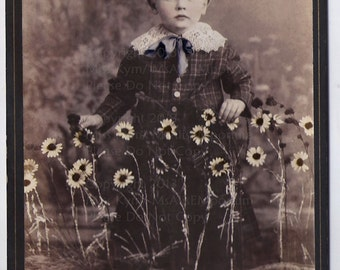 Vintage photo , Boy with Daisies, Instant download