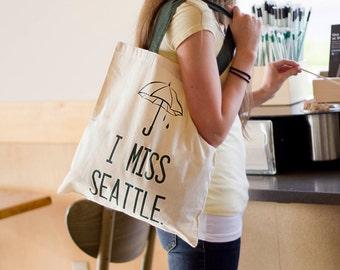 I Miss Seattle - Canvas Tote Bag - Green or Black Handle