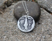 This Little Piggy Customized Silver Footprint Necklace