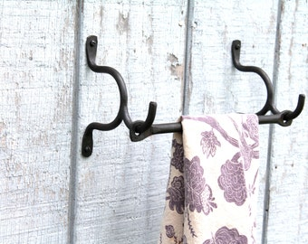 Hand Forged Iron 3 Piece Towel Holder or Curtain Rod or Pot Rack With Drifted Bar on Hooks by VinTin (Item # K-903)
