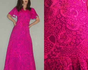 XS S Vtg 60s FUMI'S Hot Pink Purple PSYCHEDELIC Hawaiian Boho HIppie Bell Flutter Sleeve Maxi Dress