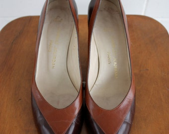 Vintage 1980s Charles Jourdan Designer Brown Leather Shoes Size UK 6