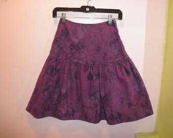 vintage 80s purple rose print denim skirt 1980s drop waist denim ruffle skirt size small XS 24 waist