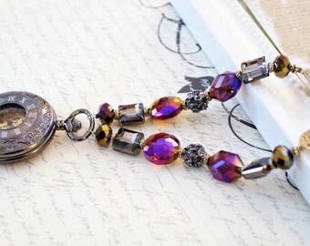 Black Chrome Mechanical Pocket Watch Necklace