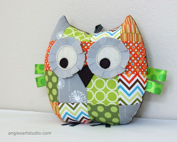 Owl Pillow, Patchwork Owl, Stuffed Animal, Owl Plush Toy, Unisex Baby Gift, Green Orange and Gray