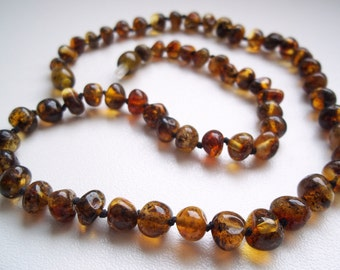 Dark greenish  Baltic  Amber  Necklace  Choker   17.3  inches.