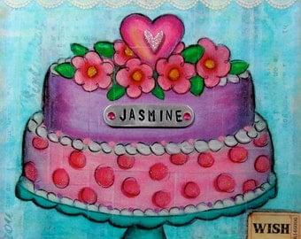 Birthday Cake, Sweet Shoppe, Personalized - Mixed Media on Wood