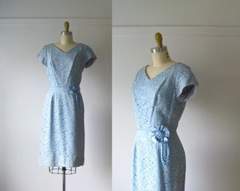 SALE vintage 1960s dress / 60s dress / Cerulean Dream