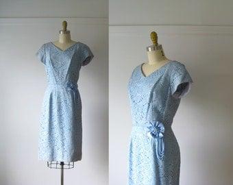 vintage 1960s dress / 60s dress / Cerulean Dream