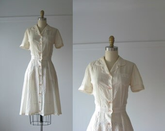 vintage 1950s dress / 50s dress / Crystal Criss Cross