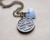 Libra Zodiac Necklace - Air Blue Opal Crystal Swarovski Heart Astrology Birthday