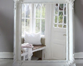 Vintage Beach Cottage Mirror Hollywood Regency White Shabby Chic
