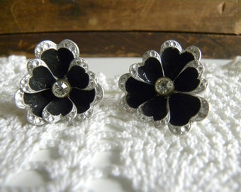 Vintage Germany Earrings - Silver and Black Flowers with CZ gemstone - Screw Back