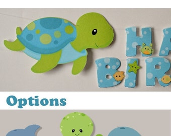 Boy Ocean Sea TURTLE Baby Shower or First Birthday Party Decoration BANNER - Turtle, Whale, Octopus OR Dolphin