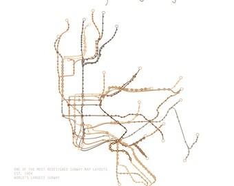 5x7 New York CIty Subway Map