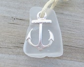 Sea Glass Anchor Nautical Necklace by WaveofLife - WaveofLife
